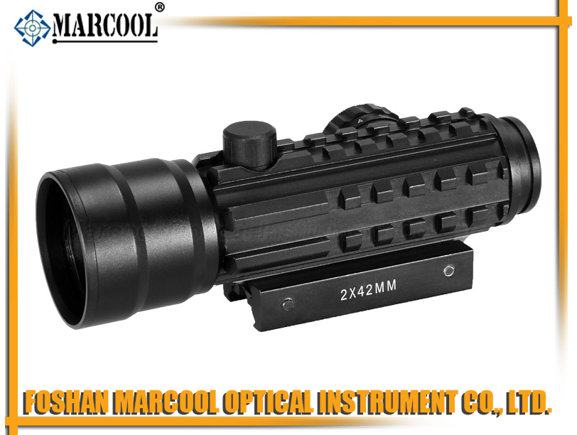 2X42 red dot sight with Three sides rail